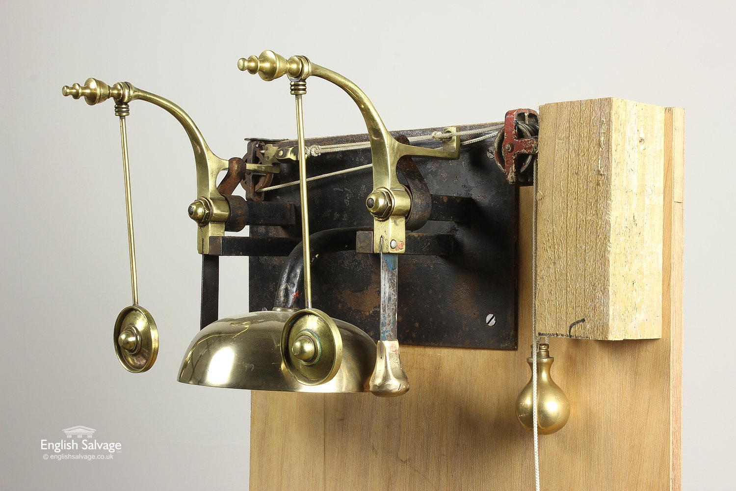 Old Servants Bell Assembly Mounted On Board
