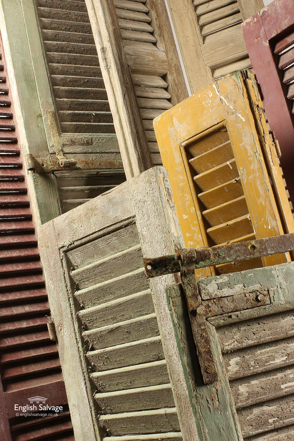 Old Tall Mustard Coloured Wood Shutters