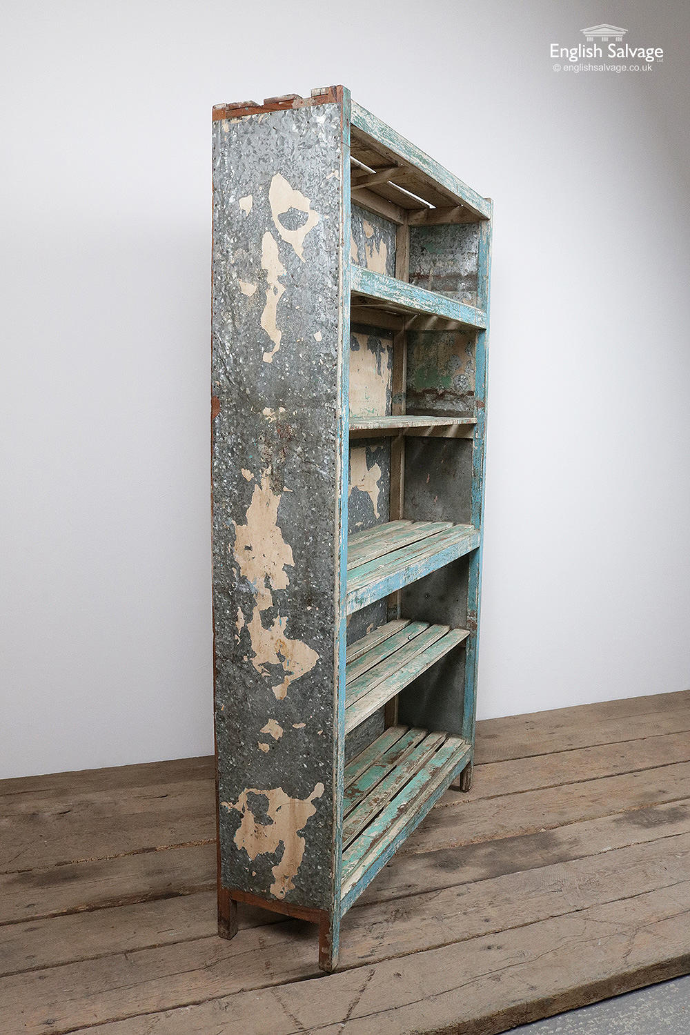 Old Tin Clad Blue Painted Wooden Bookcase