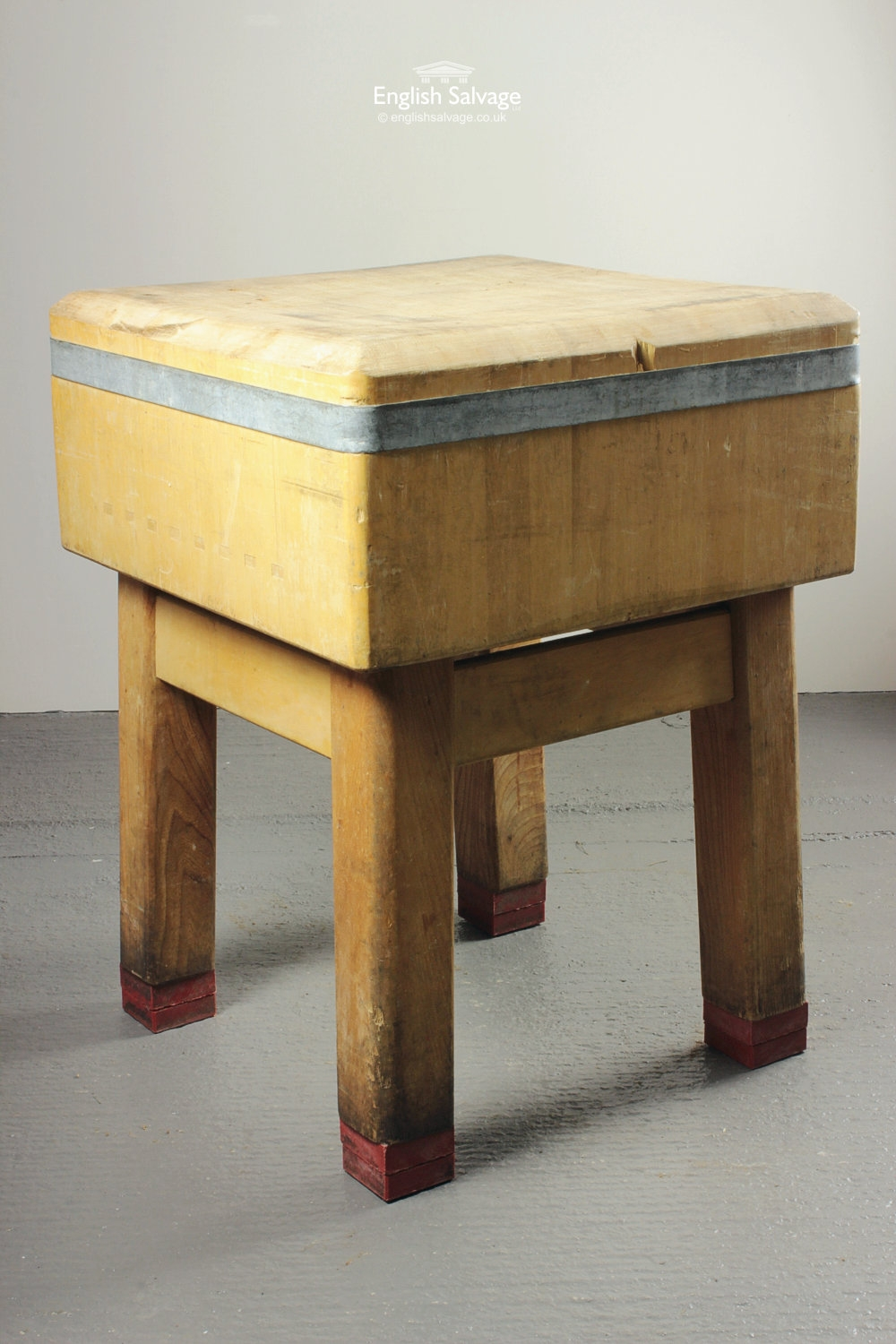 Original Square Butcher Block On Table Base