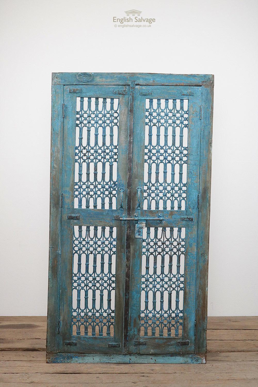 Ornate Blue Antique Jali Framed Double Door