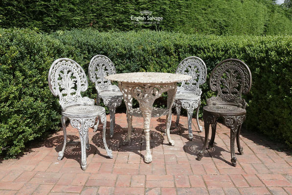 Ornate Cast Iron Garden Table And Four, Cast Iron Garden Furniture