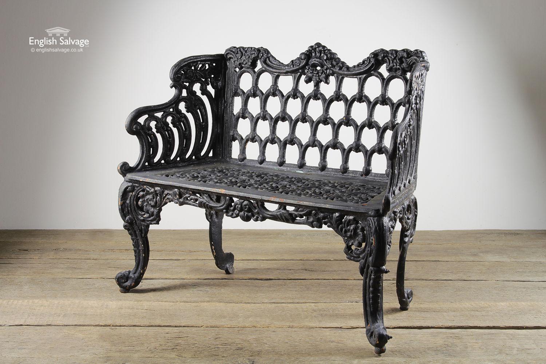 Ornate Cast Iron Painted Cream Garden Bench