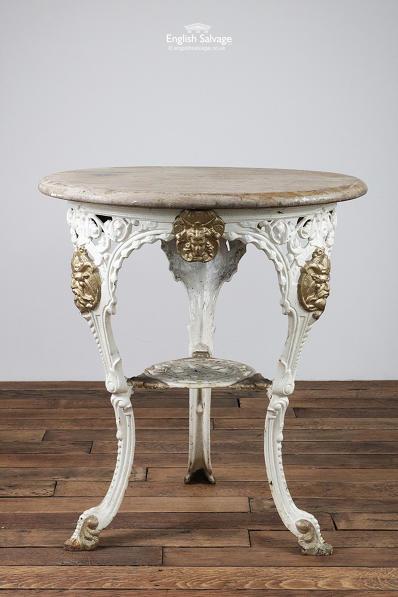Ornate Cast Iron Wood Top Pub Table