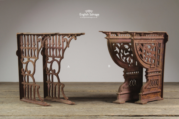 Ornate Pairs of Cast Iron Toilet Brackets