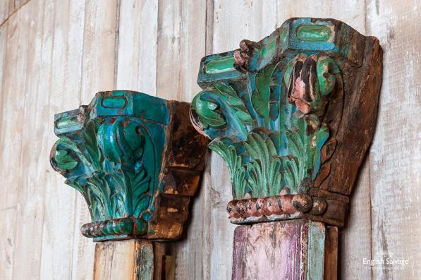 Pair of gaudy coloured antique teak pillars