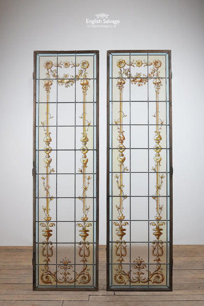 Pair of handpainted leaded glass panels
