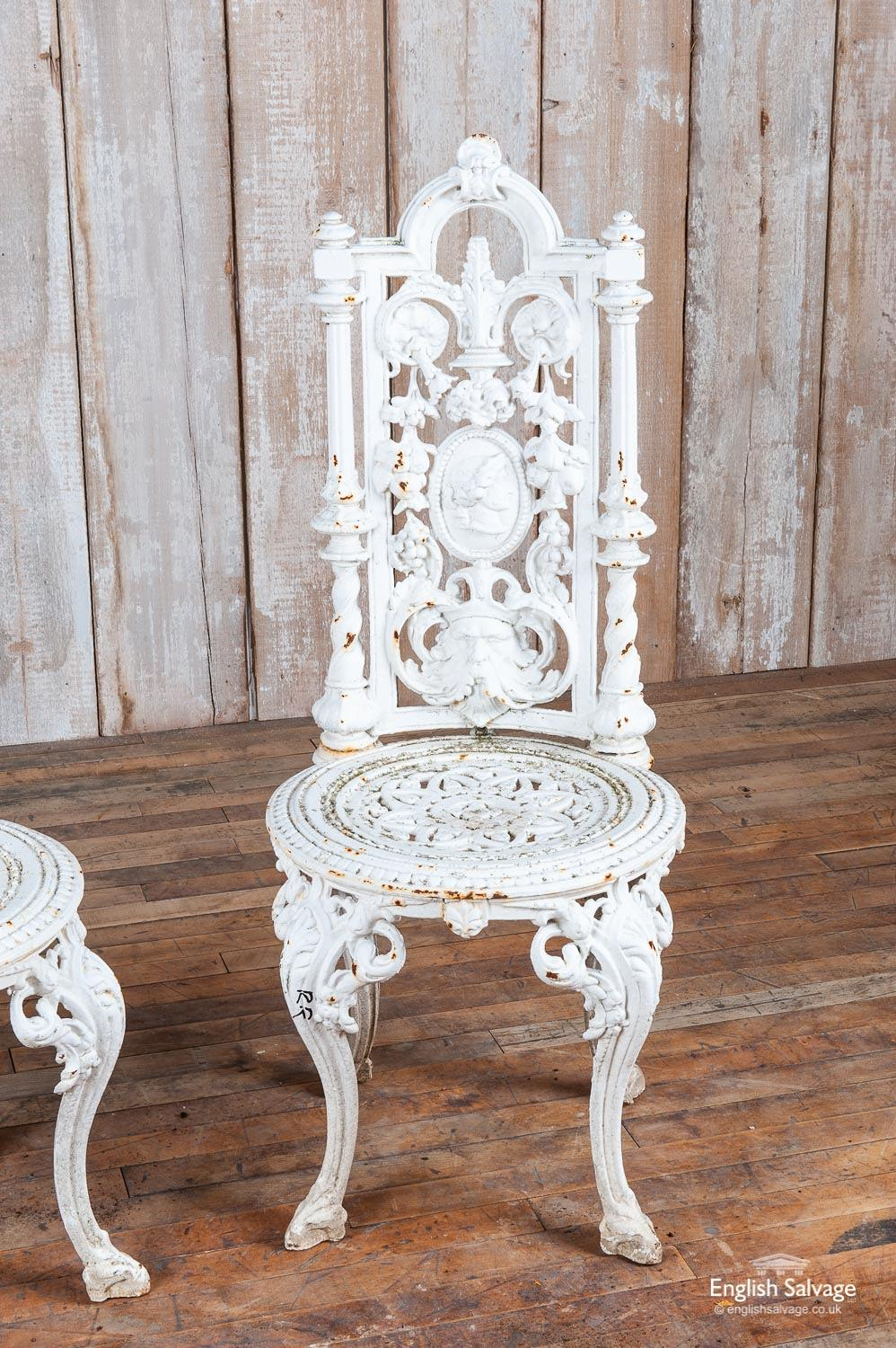 Pair Of Ornate Cast Iron Garden Chairs