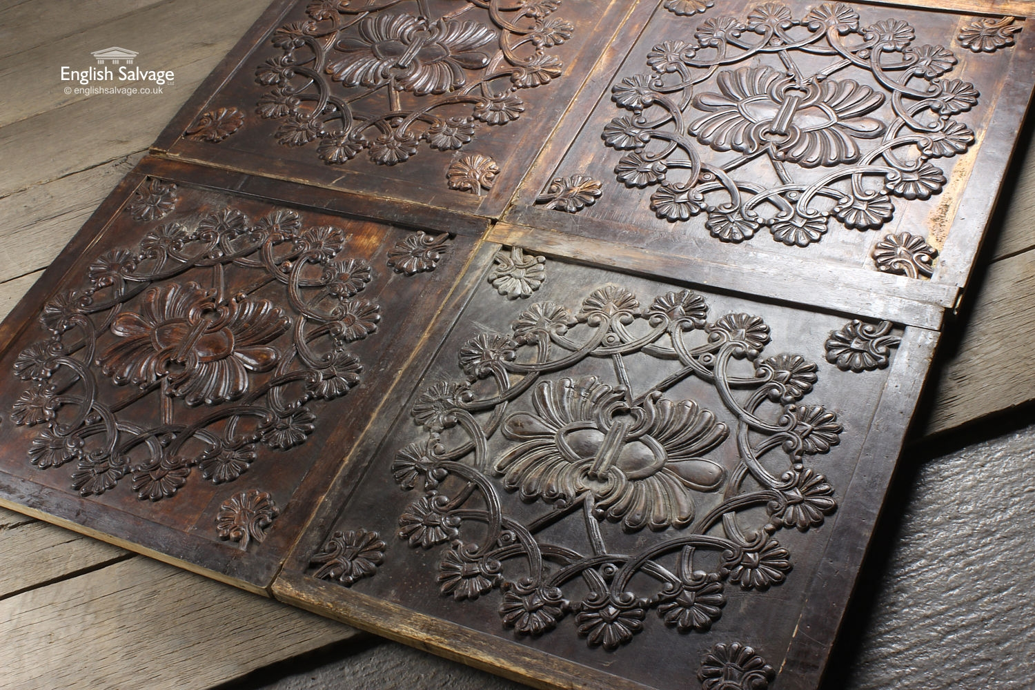 Persian Style Floral Carved Wood Wall Panels