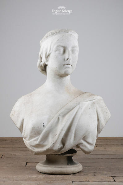 Queen Victoria marble bust signed M Noble