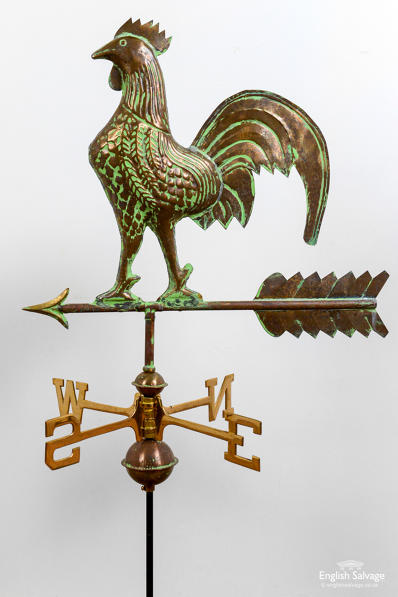 Quirky copper and brass cockerel weathervane