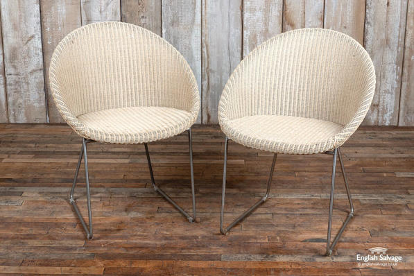 Rattan and steel cafe chairs