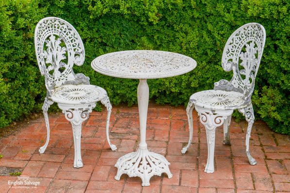 Reclaimed aluminium garden table and 2 chairs