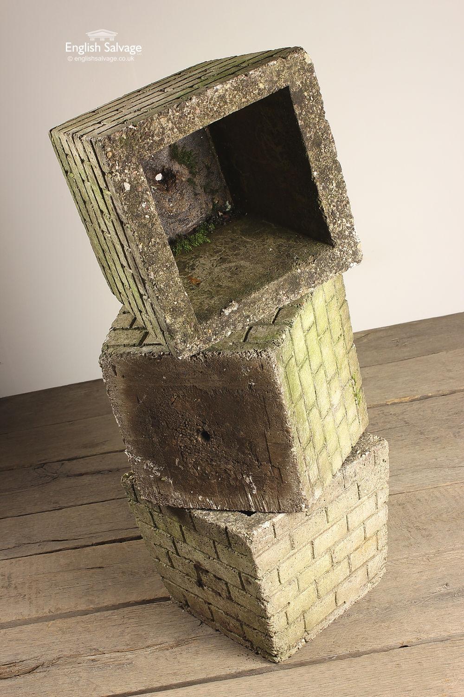 Reclaimed Brick Patterned Concrete Planters