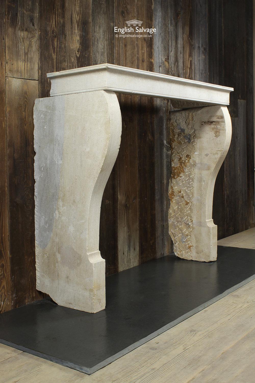 Reclaimed Burgundy Limestone Fireplace