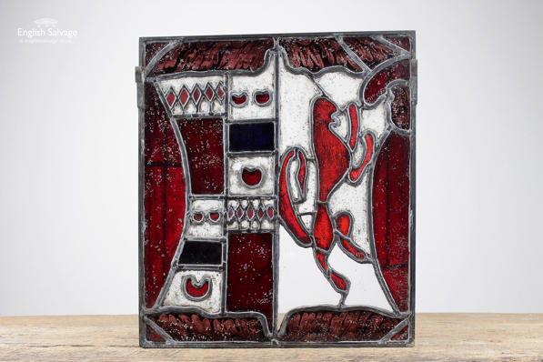 Reclaimed Mythical Red Lion Stained Glass