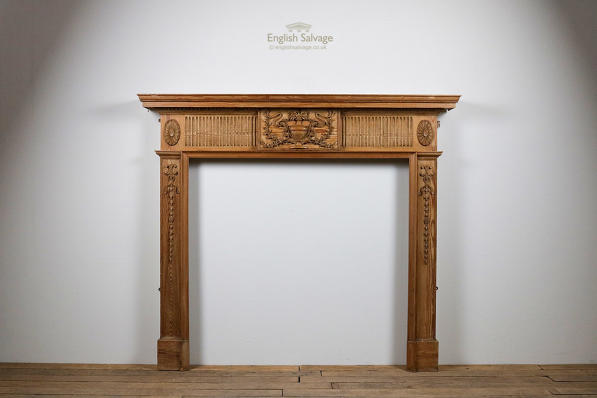 Reclaimed ornate pine fire surround