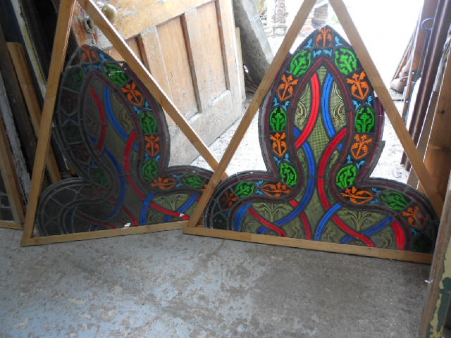 Reclaimed Patterned Stained Glass Panels