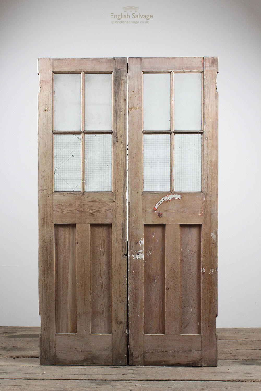 Reclaimed Pine Glazed Double Old Doors