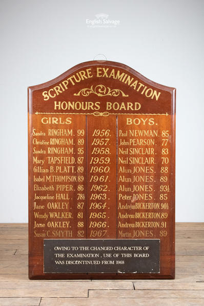 Reclaimed school scripture honours boards