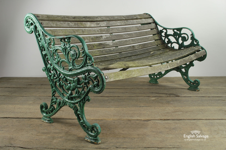 Reclaimed Slatted Green Wooden Garden Bench
