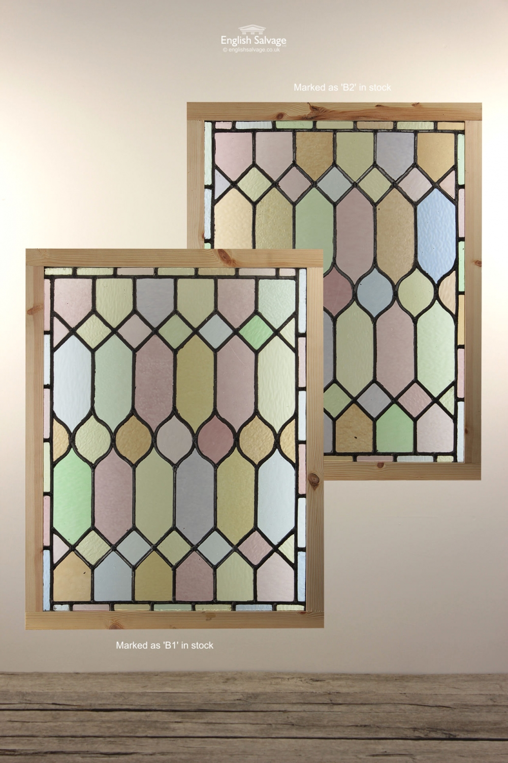 Reclaimed Stained Glass Panels In Frame
