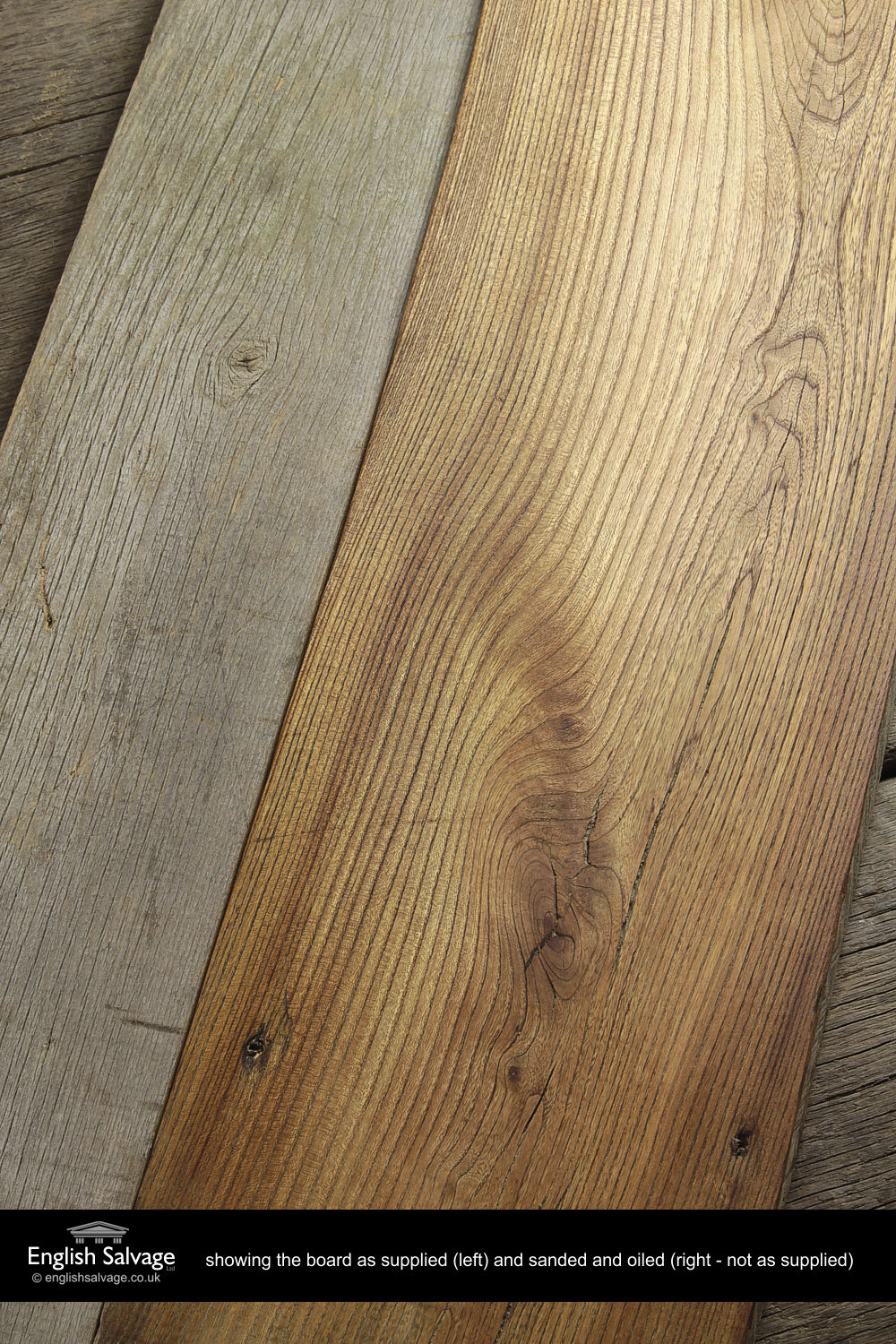 Reclaimed Wooden Elm Plank Flooring