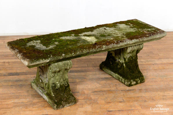 Reconstituted stone scrolled garden bench