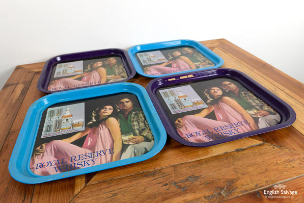 Retro trays featuring whisky ads