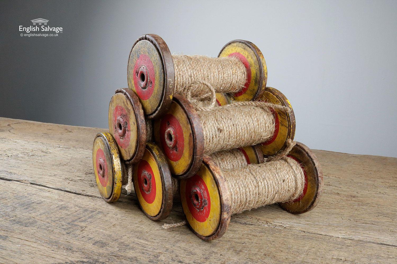 Rustic Painted Wooden Teak Spools