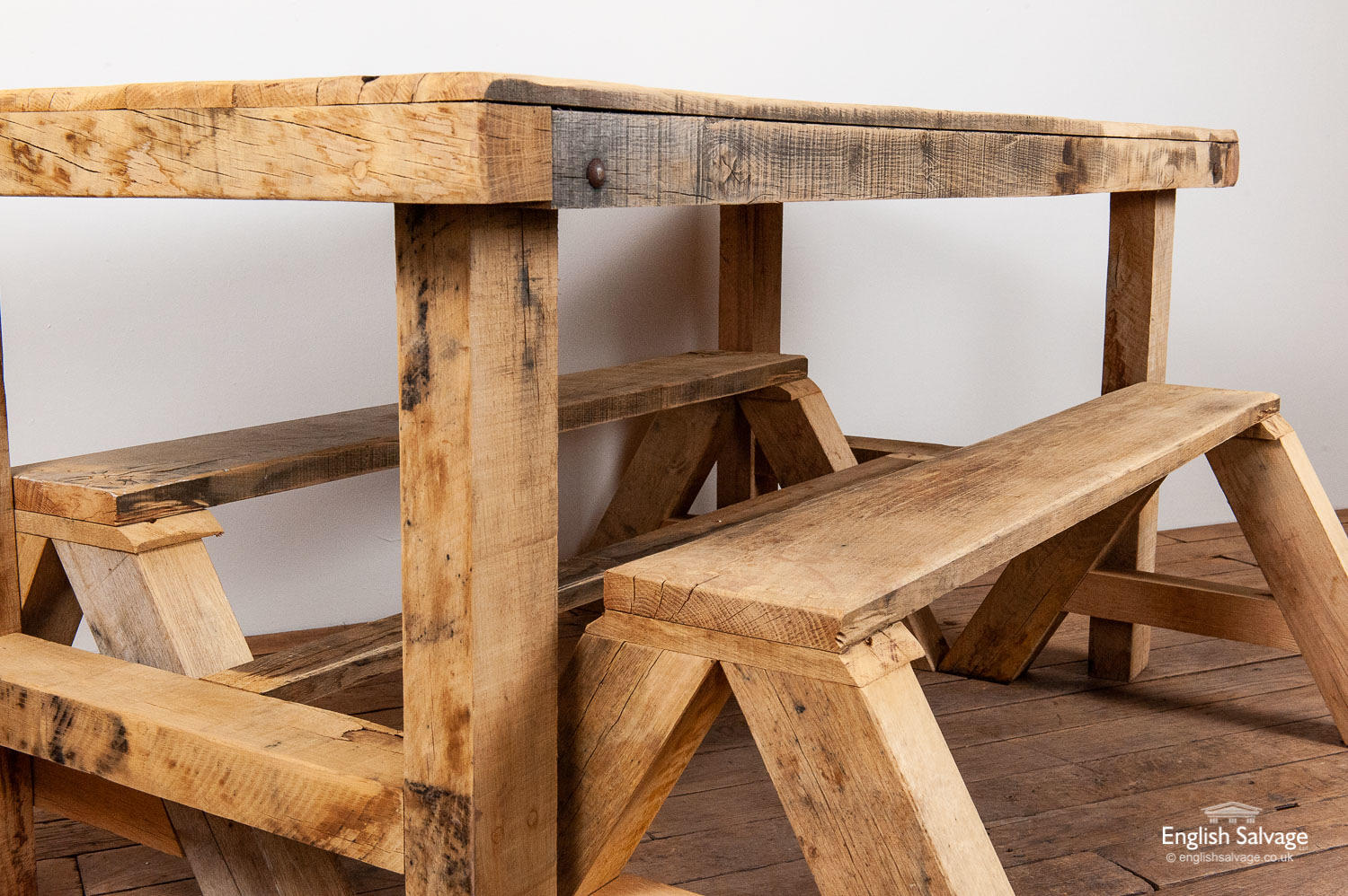 Rustic Solid Oak Table And Benches Set