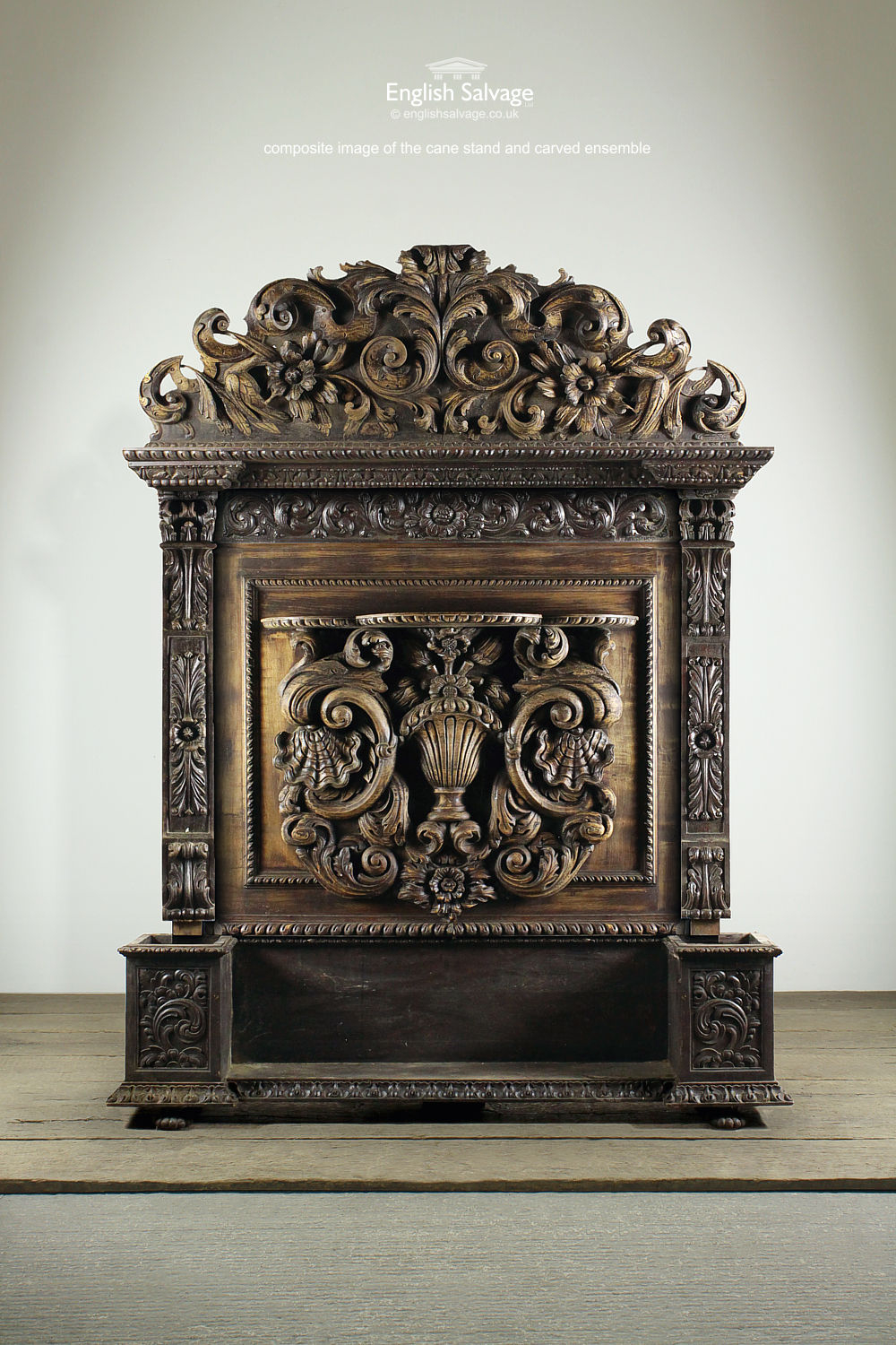 Salvaged Carved Pediment Shelf Cane Stand