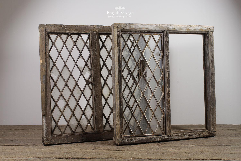 Salvaged Cast Lattice Windows In Oak Frames
