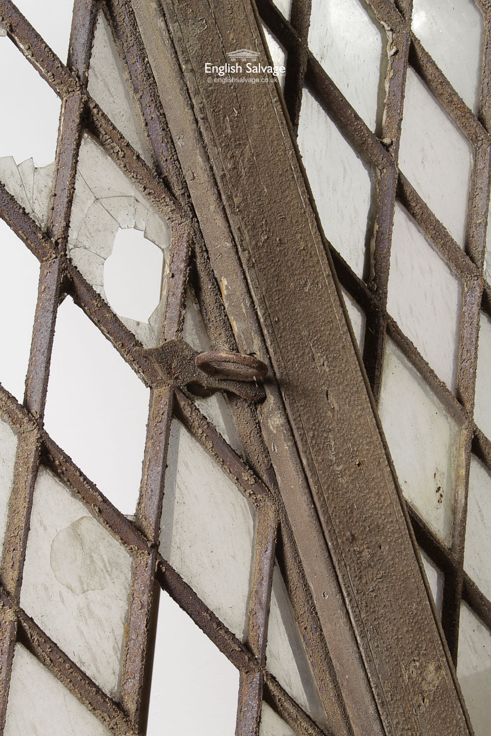 Salvaged Cast Lattice Windows In Oak Frames