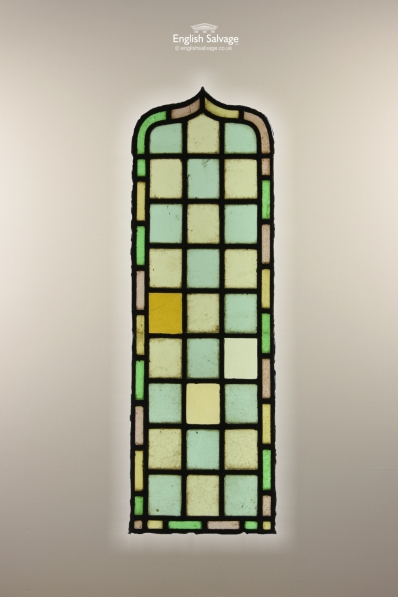 Salvaged Colourful Arched Stained Glass Panel