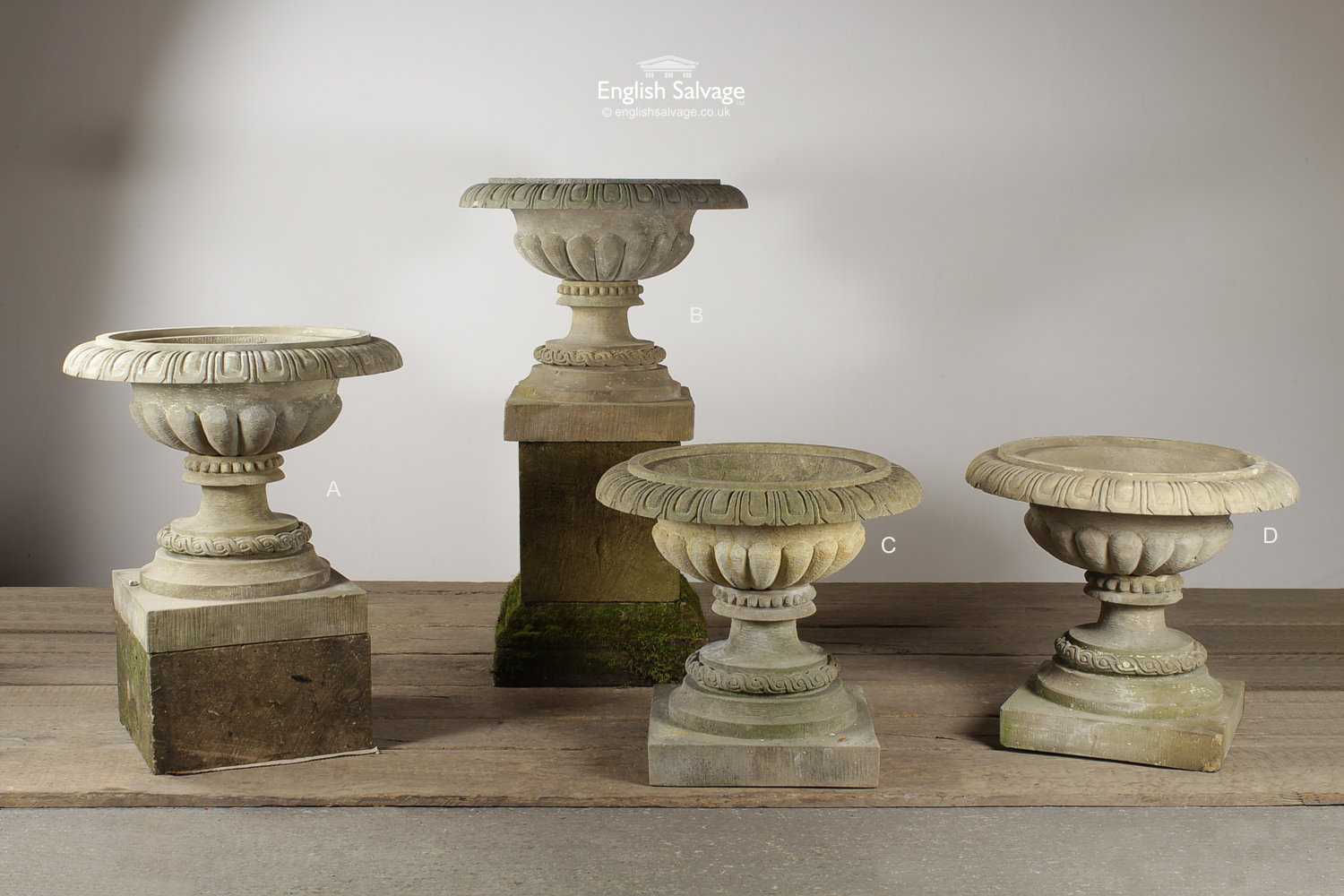 Salvaged Decorative Carved Stone Urns