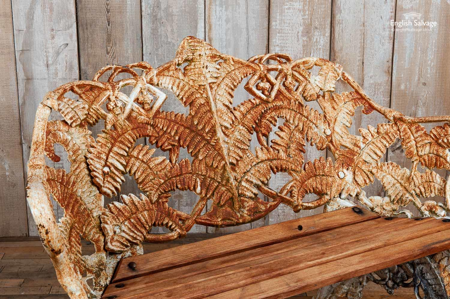 Salvaged Fern And Blackberry Cast Iron Bench