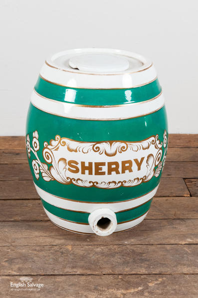 Salvaged green and white sherry keg