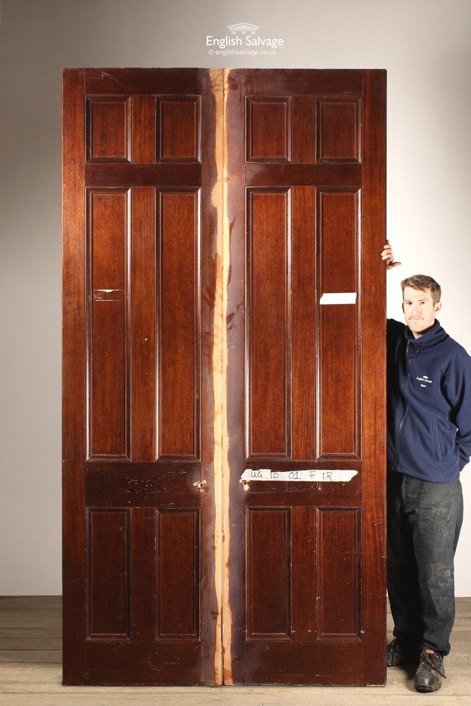 Salvaged Hotel Panel Mahogany Double Doors