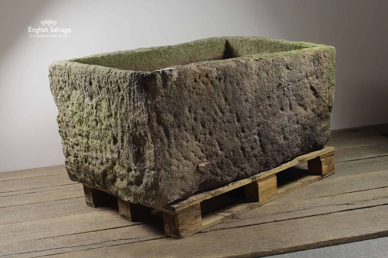 Salvaged Large Deep Rectangular Stone Trough