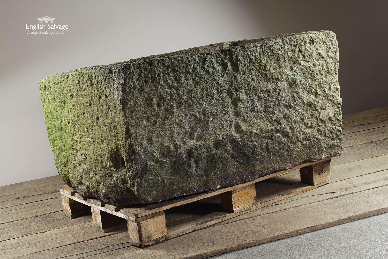 Salvaged Large Deep Rectangular Stone Trough