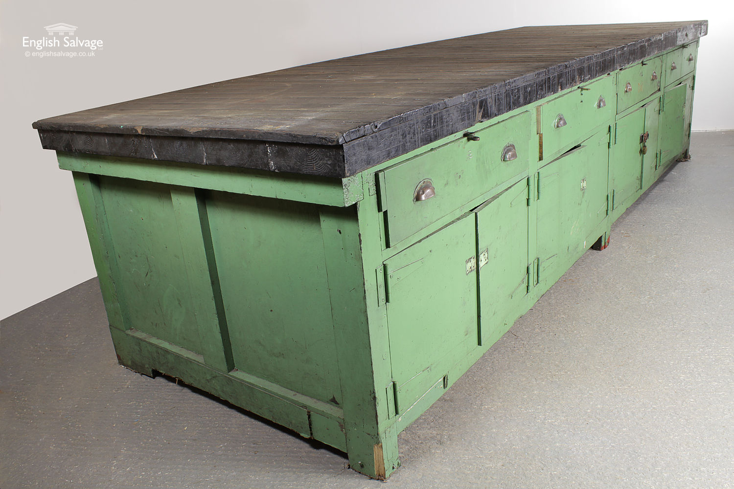 Salvaged Large Industrial Wooden Workbench