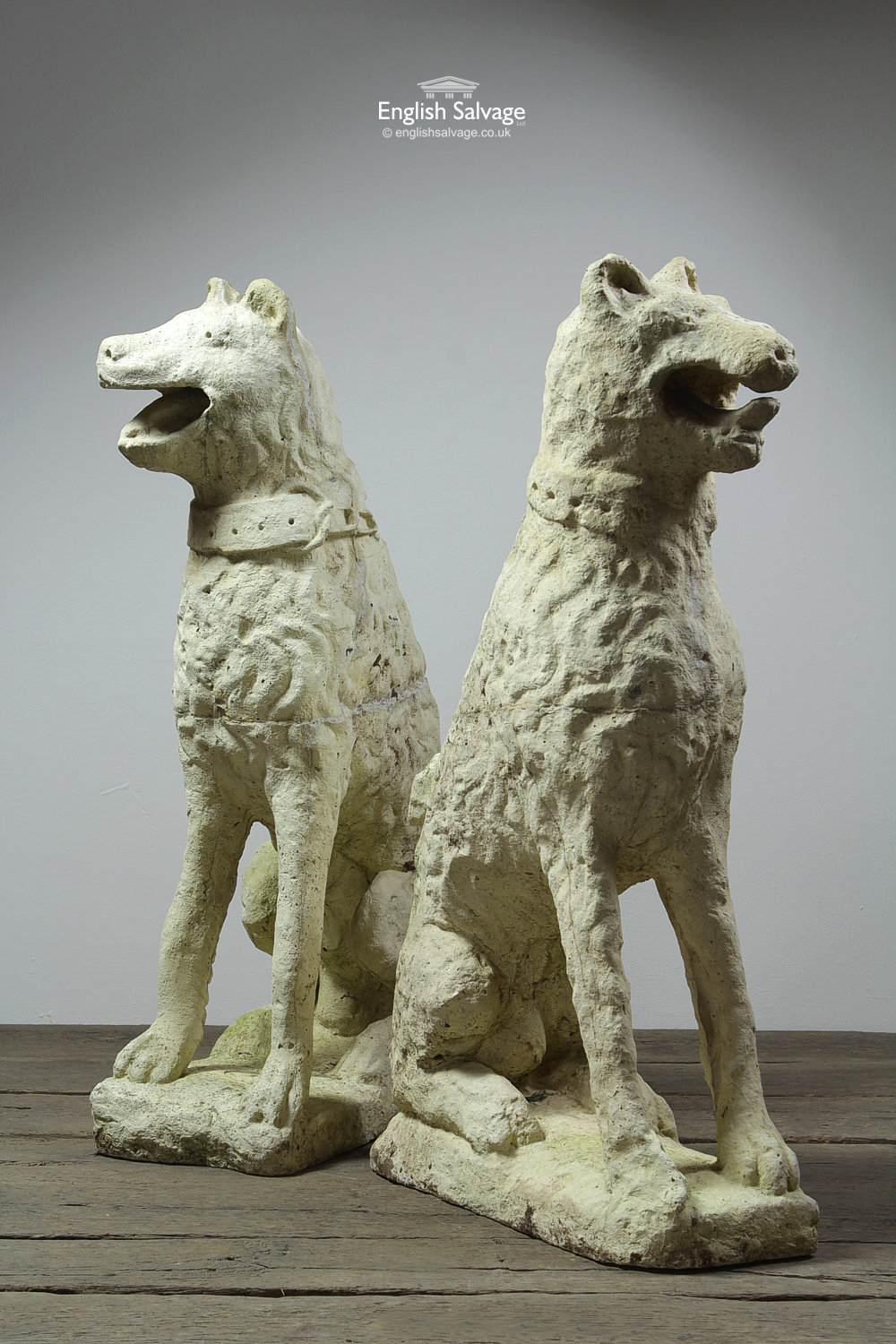 Salvaged Pair Of Reconstituted Stone Dogs