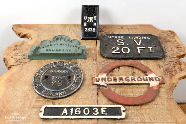 Salvaged railway and underground plaques