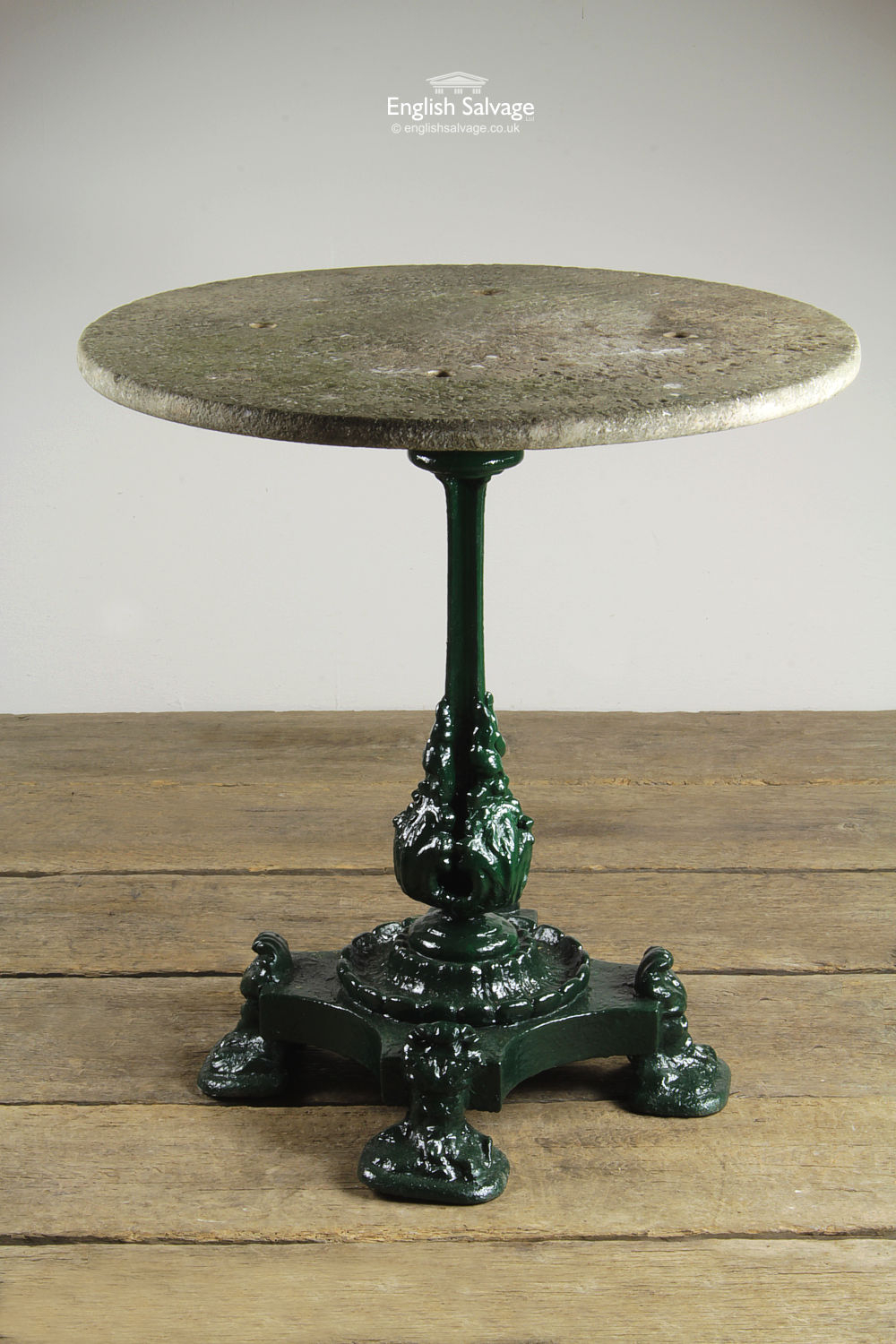 Salvaged Round Marble Topped Garden Table