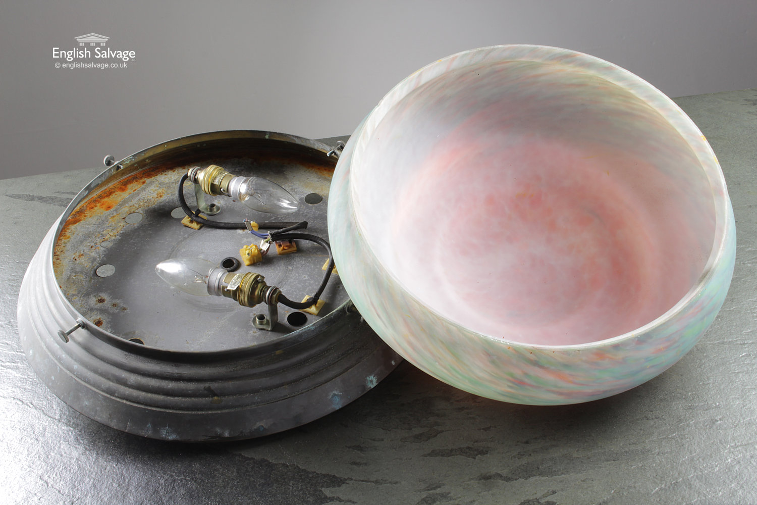Salvaged Vintage Coloured Glass Ceiling Light