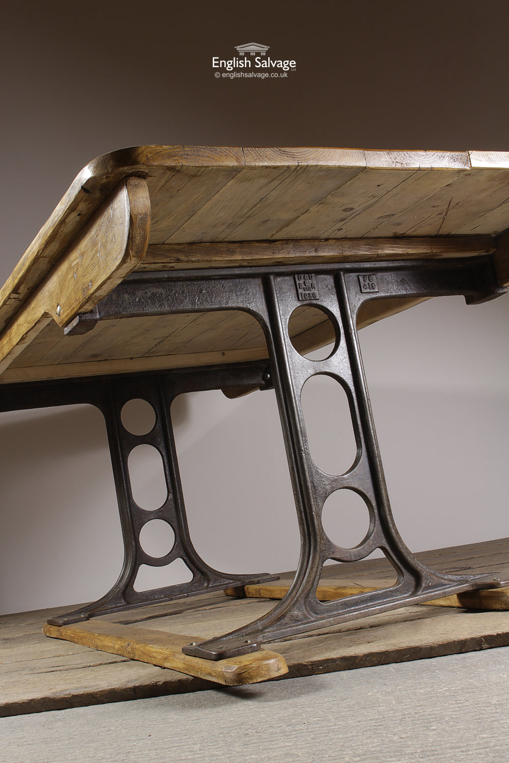 Salvaged Wooden Table With Cast Iron Legs