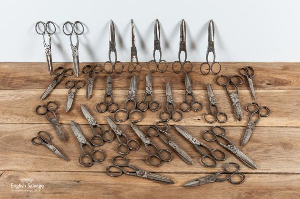 Selection of old scissors ideal for a display