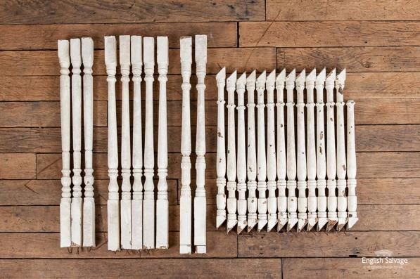 Set of 23 salvaged stair spindles