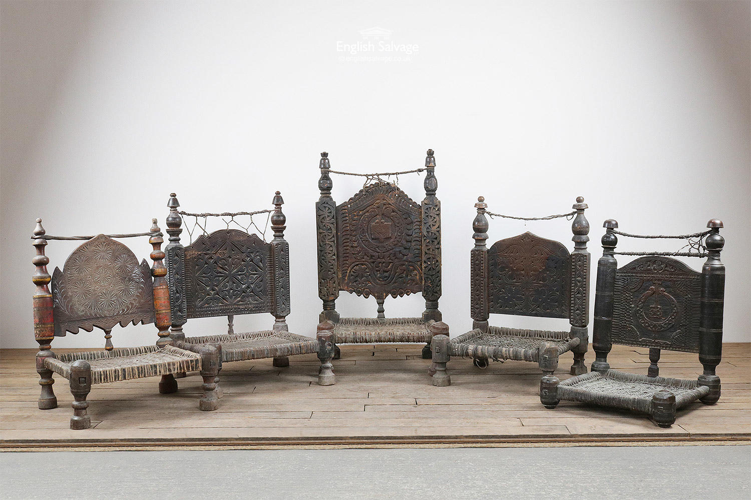 Set Of 5 C19th Tribal Chairs From Swat Valley